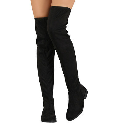 New Womens Black Vegan Suede Over The Knee Thigh High Riding Boots Low Flat Heel