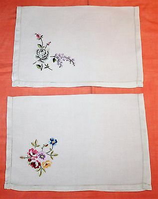 2 Vintage Embroidered Linen Tray Cloths