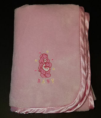 Care Bear Pink Baby Girl Security Blanket Love-A-Lot Fleece SOFT Satin