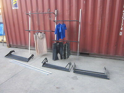 Shop Fittings, Black & Chrome Wall Mounted Adjustable Clothing Racks, Rails