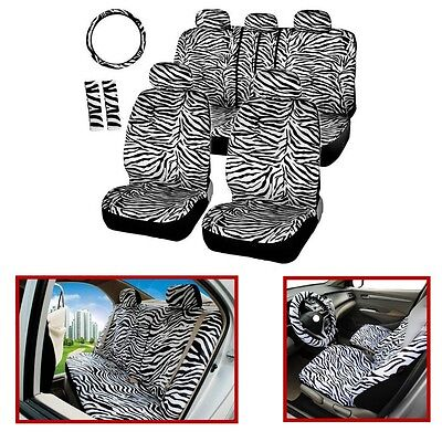 12PCS White Zebra Racing Car Seat Covers Set Pads Mats Steering Wheel Cover- NEW