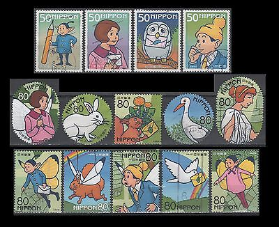 Japan 2890-2893 + 2894 a-j Letter Writing Day 2004 (14 USED Stamps)