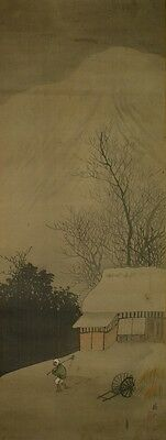 Hanging Scroll Japanese Painting Japan ink Landscape Antique Old Asian Art a151