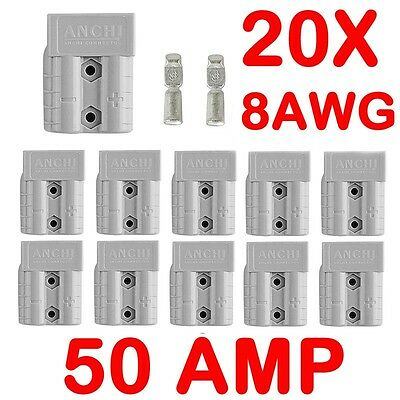 20x Anderson Style Plug Connectors DC Power 50 AMP 12-24V 8AWG