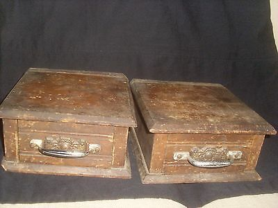 Pair of Small Antique Single Desk Top - Work Top Drawers - Index Card Drawers