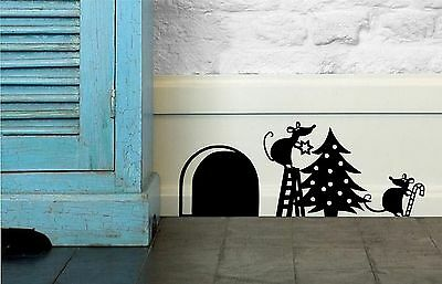 Decorating The Christmas Tree Mice Wall Art Sticker, Decal, Skirting Board