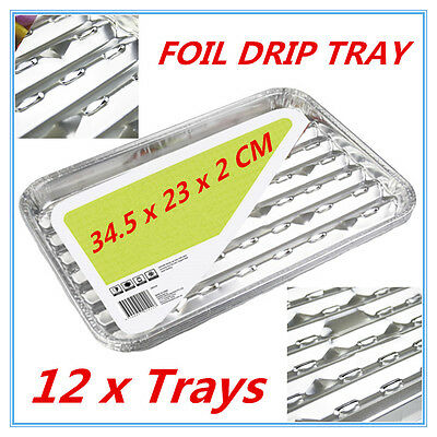 12pk Foil Roasting BBQ Baking Grill Tray Drip Tray w/h Oil Dripping Aperture FW