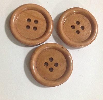 10 X 24mm Light Coffee Wooden Buttons - Australian Supplier