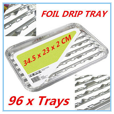 96pk Foil Roasting BBQ Baking Grill Tray Drip Tray w/h Oil Dripping Aperture FW