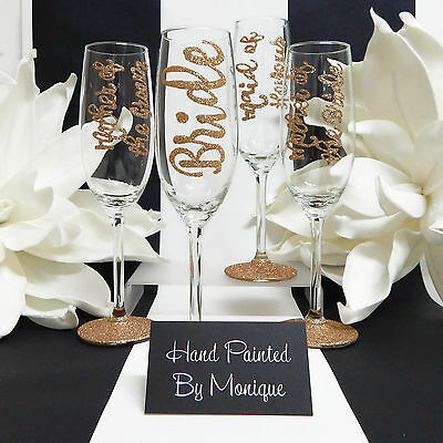 Toasting Flutes For Bride, Maid of Honour, Mother of the Bride & Groom