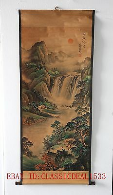 Old Collection Scroll Chinese Ink And Wash Painting / A Farmhouse In Mountain