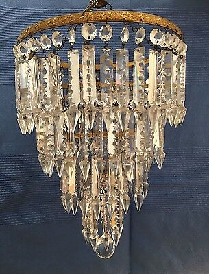 ***** Vintage waterfall style 3 tier chandelier - Hanging glass droplets *****