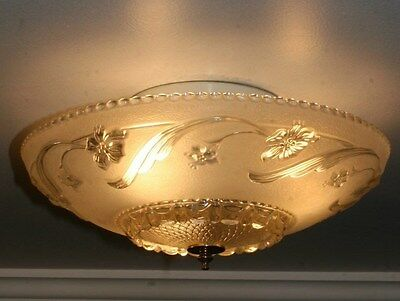 "Antique 14"" frosted glass art deco light fixture ceiling chandelier Porcelier"