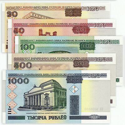Belarus Set 5 Pcs 20 50 100 500 1000 Rubles, 2000 (2011), P-24 25 26 27 28, Unc