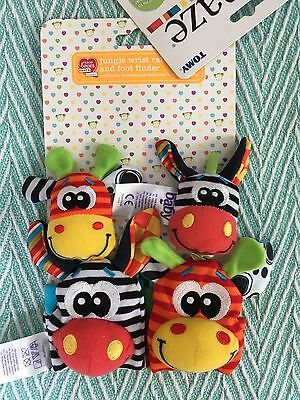 NEW Colourful Animal baby Wrist Rattle And Foot Finder (like Lamaze) 0M+