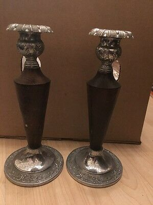 Vintage Candle Stick Holders Wooden And Metal