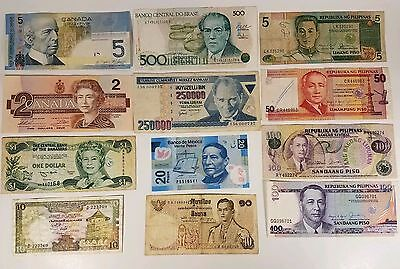 Large Lot of World Currency Notes Money Paper Peso Piso