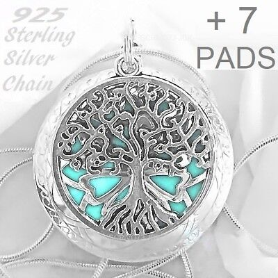 Tree Of Life Aromatherapy Essential Oil Diffuser Locket 925 Chain Necklace JBK B