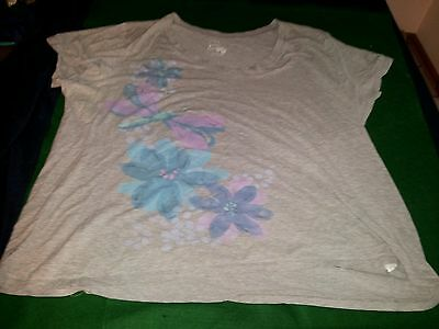womens plus 'Just My Size' gray graphic v-neck short sleeve t-shirt size 3X