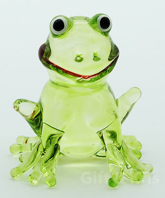Figurine Animal Hand Blown Glass Amphibian Kero Green Frog - GPFR019