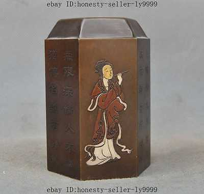 old chinese bronze Ancient beauty girl Beautiful women statue seal stamp signet