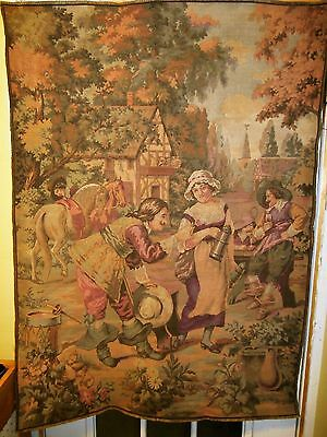 """Vintage French Wall Hanging Tapestry, Musketeers & Fair Maiden Scene - 51"""" X 37"""""""