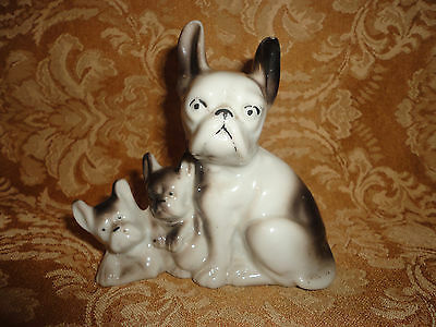 Vintage Japan French Bulldog Mother And Two Pups Figurine