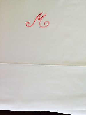 "84""x96"" initial M hand embroidered vintage Percale cotton sheet laundered by me"