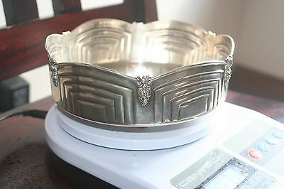 Antique Sterling Silver Candy Nut Bowl Art Deco Stamped 900 - 281 Grams