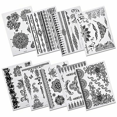 Aboat Pack of 9 Sheets Henna Temporary Tattoo Black Art Sticker