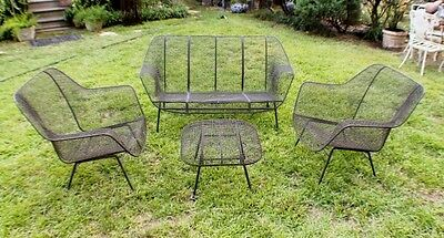 Vintage MID CENTURY MODERN WOODARD SCULPTURA 4 PC Set Couch Lounge Chairs Ottom