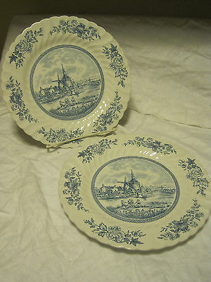 """Johnson Brothers LOT OF TWO Tulip Time 10"""" Plate Scallop Edge/Blue Scene-England"""