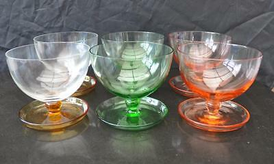 Vintage set of 6 Sundae Glasses / Dishes with Saucer Bases