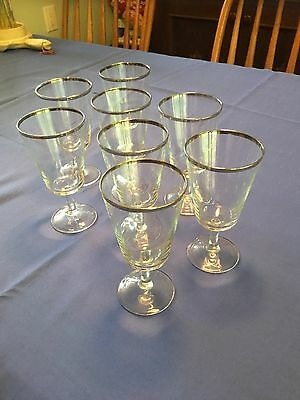 Set of 8 Crystal wine/water Glasses with silver rim