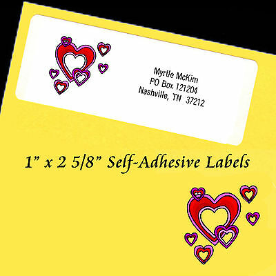 """Personalized Address Labels HEARTS Self-Adhesive 1"""" x 2 5/8"""" Laser"""