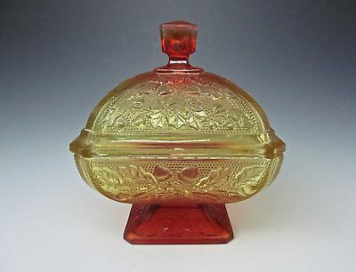 Vintage Jeannette Glass Amberina Yellow Acorns Candy Dish / Covered Glass Bowl