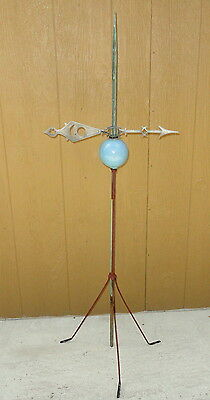 19th C. Lightning Rod with Blue Glass Ball and Weathervane