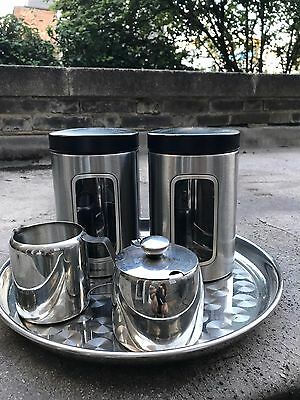 Aluminium tea and coffee canisters with matching tray, milk jug and sugar bowl
