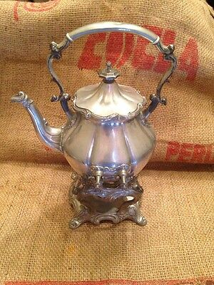 Antique 1800's Shaw & Fisher Sheffield Silver Plated Tea Kettle on Stand Teapot