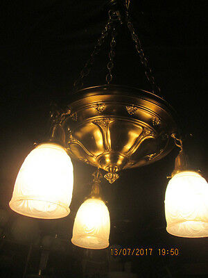 Antique Hanging Brass chandelier light fixture 3 chain pan Art Deco REWIRED