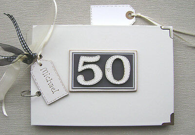 PERSONALISED 50th BIRTHDAY. BLACK..A5 SIZE.. PHOTO ALBUM/SCRAPBOOK/MEMORY BOOK.