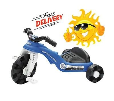 BEST Tricycle Trike Toy Police Scooter Kids Boy Bicycle Bike Wheel 3 Pedal Blue