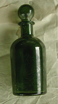 Antique Green Glass Apothecary Medicine Bottle Jar ~ Glass Stopper Repro 6.5""