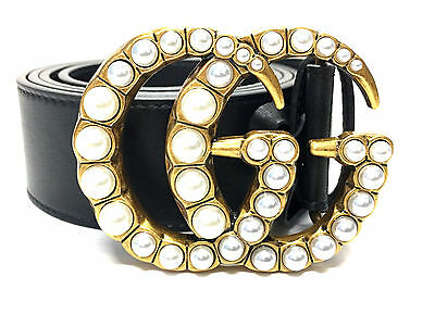 Authentic Black Leather Pearls 42 Double G Buckle Gucci belt RETAILS for $650