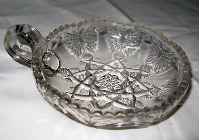 Beautiful Small Lead Crystal Candy, Candle Dish w Small Jug Handle