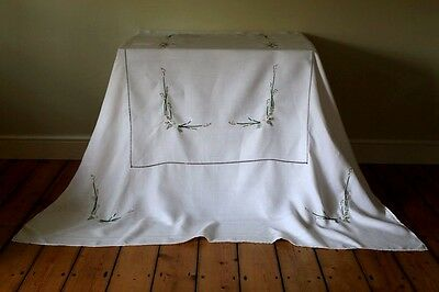 Large Vintage White Linen Damask Tablecloth Hand Embroidered Lilly Iris Floral