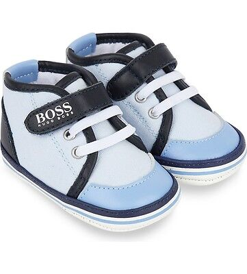 Hugo Boss Babies Leather And Cotton Trainer