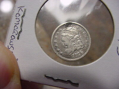 1834 clear 3 over 3 variety Capped Bust Half Dime, holed
