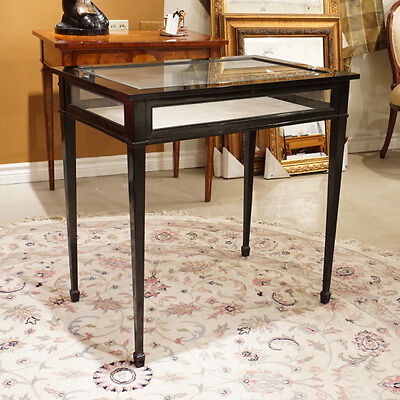 High end unique Display Table Mahogany wood Ebony finish with glass top