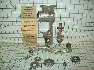 Vintage Universal 2 Hand Crank Meat Grinder Made In Usa Heavy Duty Cast Iron